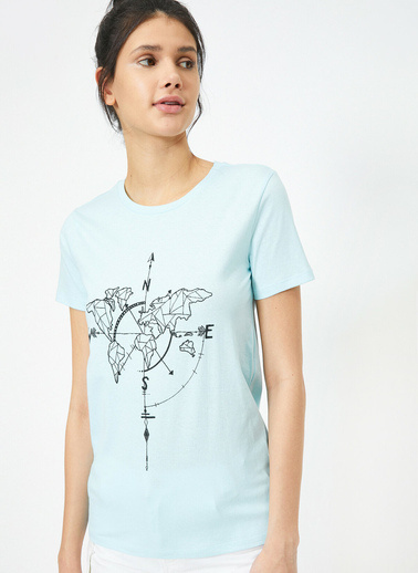 Koton Bisiklet Yaka Baskılı Kısa Kol T-Shirt Mavi